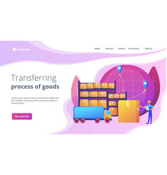 Transit warehouse concept landing page vector