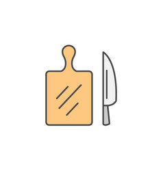 vegetables cutting board with knife icon kitchen vector image