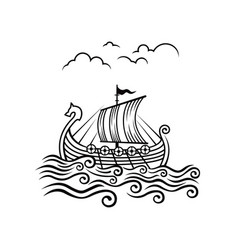 viking drakkar image transport ship vector image