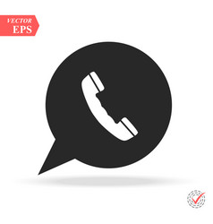 white phone handset in speech bubble icon vector image