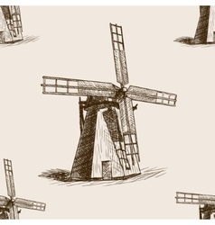 windmill hand drawn sketch seamless pattern vector image