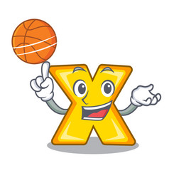 With basketball character cartoon multiply sign vector