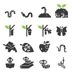 Worm icon set vector image