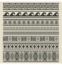 Border decoration set Greek ethnic patterns vector image