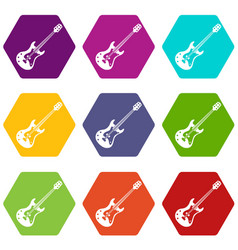 classical electric guitar icon set color vector image