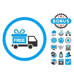 Gift Delivery Flat Icon with Bonus vector image
