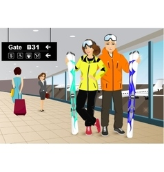 happy couple skiers standing in the airport vector image vector image