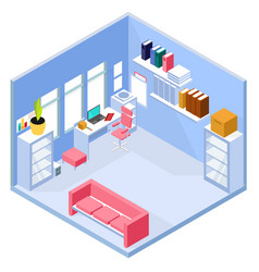 isometric home office interior vector image