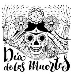 Mexican zentangle dia de los muertos text day of vector