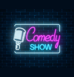 neon sign of comedy show with retro microphone vector image vector image