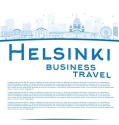 Outline Helsinki skyline and copy space vector image