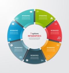 pie chart infographic template 7 options vector image
