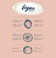 vegetarian restaurant menu hand drawn design vector image vector image