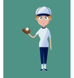 cartoon girl baseball player glove ball and cap vector image vector image