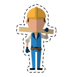 cartoon man construction wooden board and tool vector image