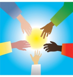 five hands of different races vector image