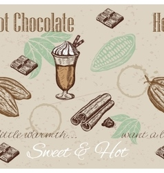 Hand drawing seamless pattern of cacao beans vector image