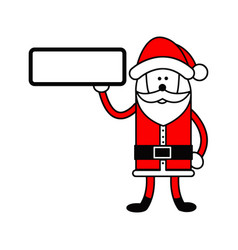 santa claus holding blank sign on the right hand vector image