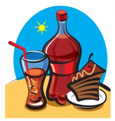 cola and cake vector image