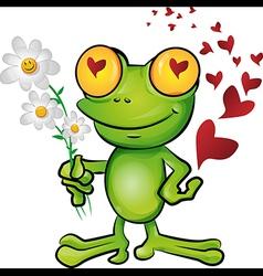 frog cartoon in love vector image
