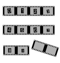grayscale film and movie with numbers symbols vector image vector image