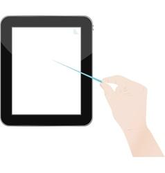 hands holding digital tablet vector image