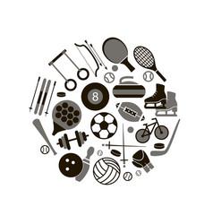 sport icon signs and symbols black round design vector image vector image