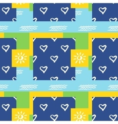 Background seamless pattern with sun heart and vector image