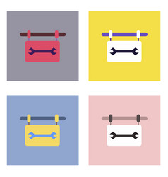 Flat icon design collection wrench sign vector