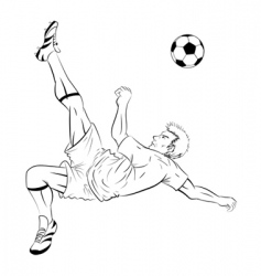 soccer player line art vector image vector image