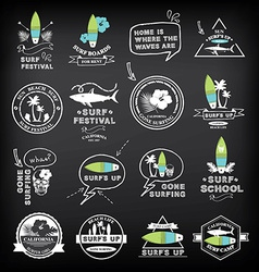 Surfing summer icons labels collection vector image vector image