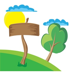 wooden board sign with clouds sun and tree vector image vector image