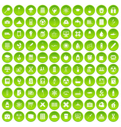 100 chemistry icons set green circle vector