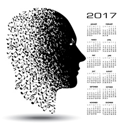 2017 calendar with a man made of musical notes vector image vector image