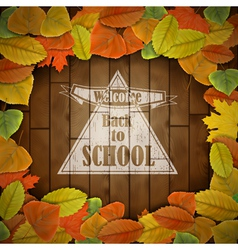 Back to school wood board with leaves vector