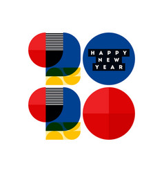 Bauhaus style numbers 2020 happy new year vector