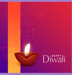 beautiful of burning diwali diya vector image