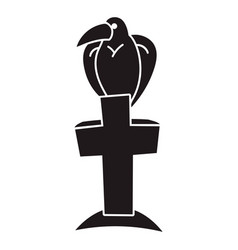 bird on grave cross icon simple style vector image
