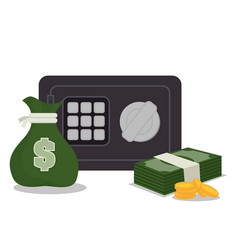 Box safety money bills icon graphic isolated vector