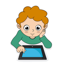 Boy with a tablet vector
