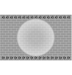 brick wall with paw prints frame vector image