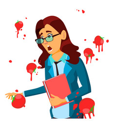 Business woman having tomatoes from crowd fail vector