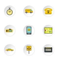Call taxi icons set flat style vector
