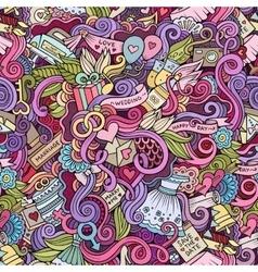 Cartoon doodles wedding seamless pattern vector