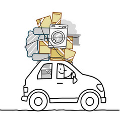 Cartoon man moving in a car vector
