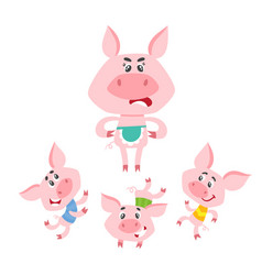 cartoon pigs characters dancing and jumping vector image