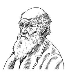 charles robert darwin cartoon caricature vector image