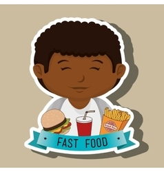 Child cartoon boy fast food vector