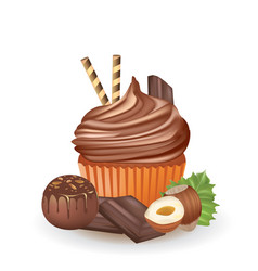 chocolate cupcake with chocolate cube and hazelnut vector image