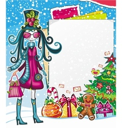 Christmas fashion girl vector